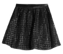 Flared Skirt mit Mesh und Leder-Optik