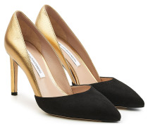Pumps aus Veloursleder und Leder in Metallic-Optik