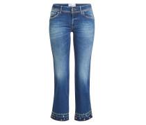 Cropped Jeans mit Stickerei