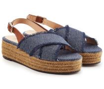 Espadrille-Sandalen aus Canvas und Leder
