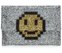 Clutch Valorie Pixel Smiley aus beschichtetem Leder