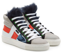 High-Top-Sneakers aus Leder mit Webpelz