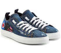 Sneakers aus Denim im Used Look mit Patches
