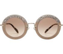 Sonnenbrille mit Veloursleder und Glitzersteinen