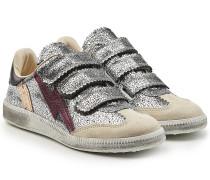 Sneakers aus Leder und Veloursleder mit Metallic Finish