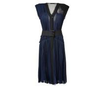Ink Pleated Silk Chiffon Dress with Belt