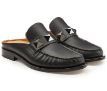 Slip-In Loafers aus Leder mit Nieten