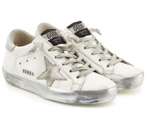 Sneakers Super Star aus Leder mit Metallic-Finish