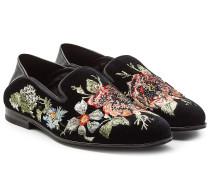 Bestickte Loafers aus Samt