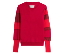 Gestreifter Woll-Pullover mit Baumwolle