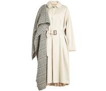 Trenchcoat aus Baumwolle mit kariertem Stoff-Overlay