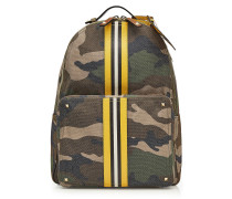 Camouflage-Rucksack mit Leder-Details