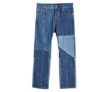 Cropped Jeans im Patchwork Look