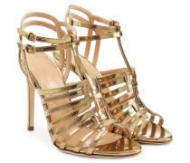 Stiletto-Sandalen aus Leder mit Metallic-Optik