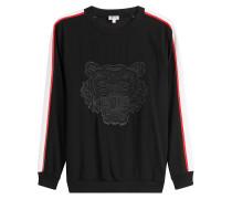 Besticktes Sweatshirt mit Kontrastborten