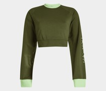 cropped Sweatshirt aus Baumwolle mit Schnürdetail