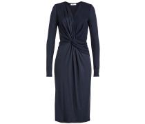 Drapiertes Kleid Petalo mit Wolle und Knotendetail