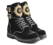 Bestickte Samt-Boots Eagle