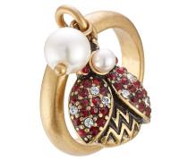 Ring Ladybird mit Kristallen