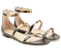 Sandalen aus geprägtem Leder mit Metallic-Details