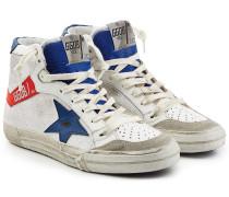 High Top Sneakers aus Leder und Veloursleder