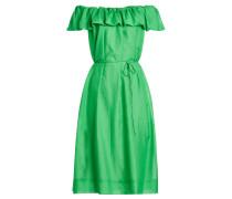 Off Shoulder Kleid aus Baumwolle und Seide mit Volants