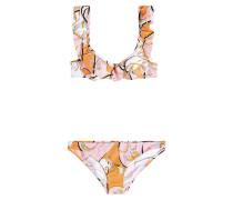 Bedruckter Bikini mit Volant