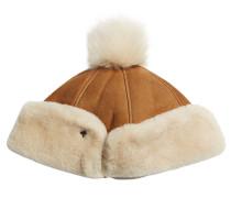Mütze aus Veloursleder und Lammfell