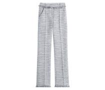 Straight-Leg-Pants aus Tweed mit Fransen