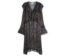 Gemustertes Kleid mit Seide und Rüschen