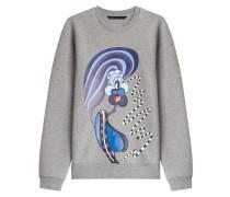 Print-Pullover aus Baumwolle
