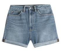 High-Waist-Shorts aus Denim mit Pailletten und Stickerei