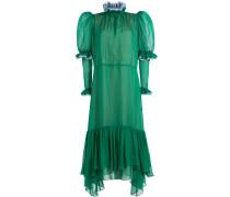 Kleid aus Seide mit Puffärmeln und Rüschen