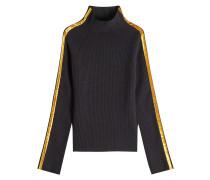 Pullover aus Wolle und Kaschmir mit Kontrastborte aus Samt