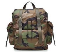 Camouflage-Rucksack mit Lederdetails