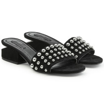 Sandalen aus Veloursleder mit Nieten