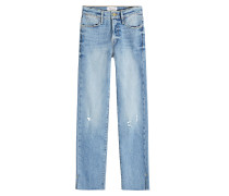 Distressed Straight Leg Jeans Le High