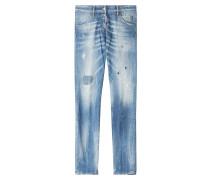 Skinny Jeans aus Baumwoll-Stretch mit Distressed-Effekten
