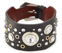 Armband aus Leder mit Kristallsteinen und Ösen