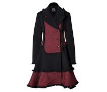 Wool Blend Fringed Coat in Red/Black