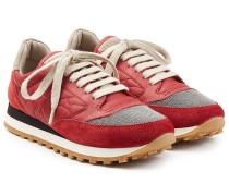 Sneakers mit Leder, Veloursleder und Schmuckperlen