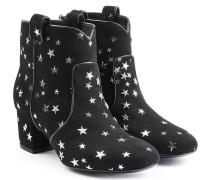 Cowboy Boots aus Veloursleder mit Sternen-Print
