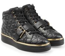 High Top Sneakers aus gestepptem Leder