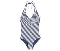 Gestreifter Swimsuit mit Neckholder und Cut Outs