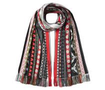 Bestickter Schal mit Wolle und Seide