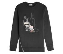 Besticktes Sweatshirt NYC Ice Skating mit Baumwolle und Zipper