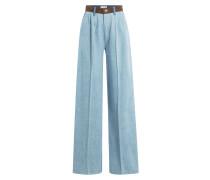 Wide-Leg-Jeans mit Velourslederbund