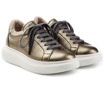 Gefütterte Plateau-Sneakers aus Leder im Metallic-Look