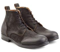 Geschnürte Veloursleder-Boots im Used-Look