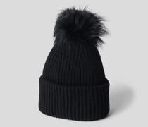 Mütze mit Fell-Bommel